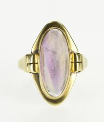 14K Yellow Gold Purple Fluorite Bezel Set Cabochon Ring