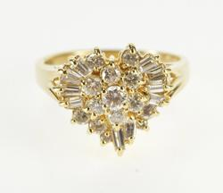 14K Yellow Gold 0.50 Ctw Diamond Encrusted Cluster Heart Ring