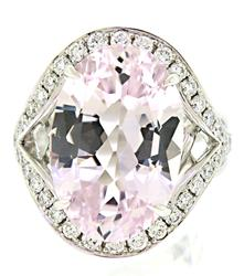 Supreme Kunzite with Halo Diamond Ring