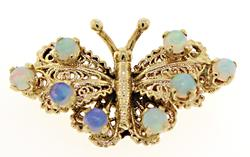 Cute Opal Butterfly Pin