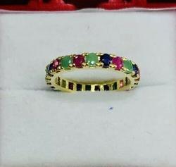 14kt Ruby, Emerald, & Sapphire Eternity Ring