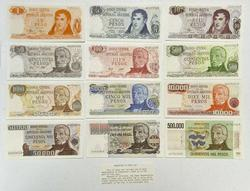 UNC Set of Argentina Inflation Peso Notes 1-500,00