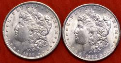 2x 1890 Morgan BU Dollar