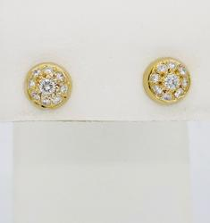 Round Brilliant Cut Cluster Diamond Earrings