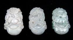 3 Chinese Jade Zodiac Pendant