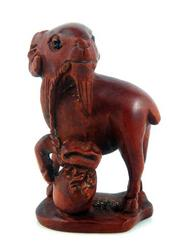 Hand Carved Boxwood Goat Ram Antelope Hold Bag Sculpture