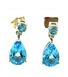 Pretty Blue Topaz and Diamond Accent Earrings