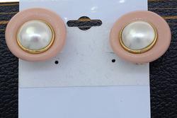 Vintage Pearl & Pink Clip-On Earrings
