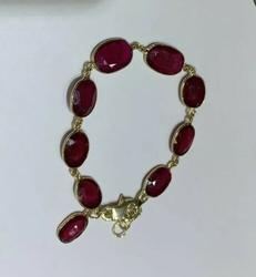 Unique 14kt Gold Ruby Bracelet