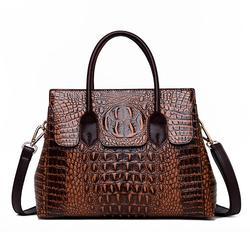 Women Crocodile Handbag Faux Leather Crossbody Bag