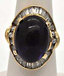 LADIES 14 KT YELLOW GOLD AMETHYST AND CUBIC ZIRCONIUM RING