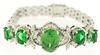 Charming Green Stone and Diamond Bracelet