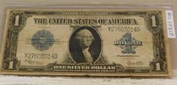 1923 Large Size, Washington $1 Silver Cert, light folds