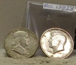 1963-D Franklin & 1964 Kennedy Half Dollars, circ
