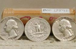 90% Silver Roll Washington Qtrs, $10.00 face, circ