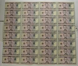 Sheet Of 32 2009 $5 Federal Reserve Notes - Uncut Sheet Of Notes!