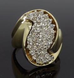 14K Yellow Gold Cluster Diamond Ring
