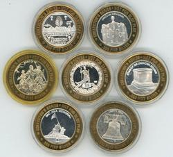 7 Different pure .999 silver $10 Caesars' gaming tokens