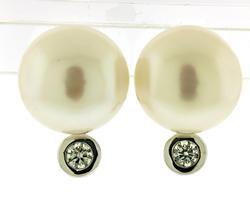 Fancy Fresh Water Pearl and Diamond Earrings