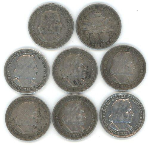 8 1893 Columbian Commemorative Half Dollars