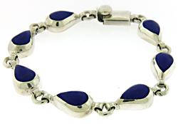 Inlay Blue Stone Link Bracelet