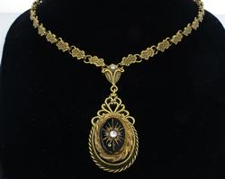 Jet Oval on Victorian Chain