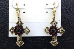 Victorian Black Cross Earrings