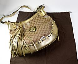 Gucci Coated Canvas Metallic Monogram Hobo Bag