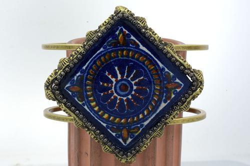 Talavera Tile Wire Cuff Bracelet