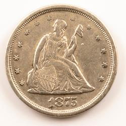 1875 S/ S About  Near Unc 20 Cent Piece