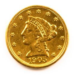 Raw US 1905 Quarter Eagle Gold