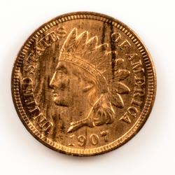 1907 Full Diamonds Red Brown Indian Head Cent