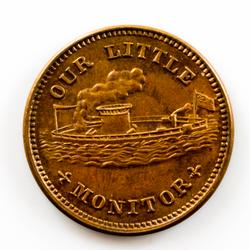 1863 Red BU Moniitor Civil War Token
