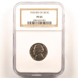 1939 Reverse of 38 Proof 65 NGC Jefferson Nickel