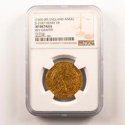 Henry VII 1505-09  England Gold Angel NGC XF