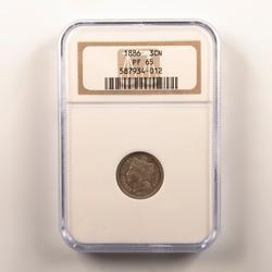 1886 3 Cent Nickel  In An NGC Proof 65 Holder