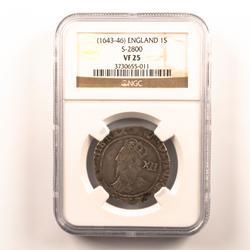 English Shilling  Charles 1 1643-45 Seaby 2800  NGC VF 25