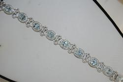 14kt Gold Aquamarine & Diamond Bracelet