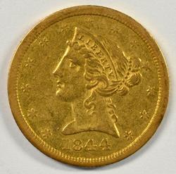 Scarce 1844-O No Motto $5 Liberty Gold Piece in AU.