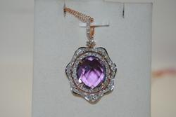 14kt Rose Gold Amethyst & Diamond Pendant