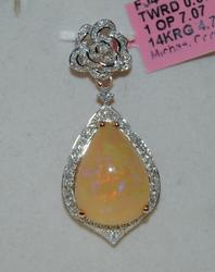 14kt Rose Gold Opal and Diamond Pendant