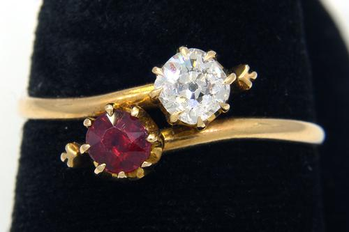 Bright Ruby & Diamond Ring in Gold