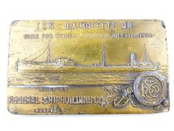 T.S.S. J.A. Moffert, Jr. Early Brass Tanker Paperweight