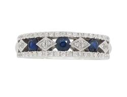 Sapphire and Diamond Band Style Ring