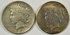2 Better date Peace Silver Dollars from 1921 & 1927