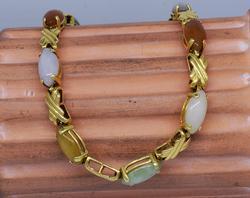 14KT 8-Inch Multi-Color Gem Cabochon Bracelet