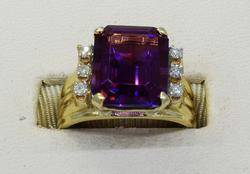 14KT Emerald-Cut Gem with Diamonds