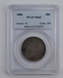 MS65 1886 Seated Liberty Half Dollar - Graded PCGS