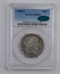 MS64 1900-S CAC Barber Half Dollar - Graded PCGS