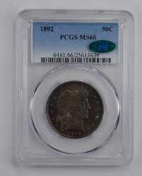 MS66 1892 CAC Barber Half Dollar - Graded PCGS